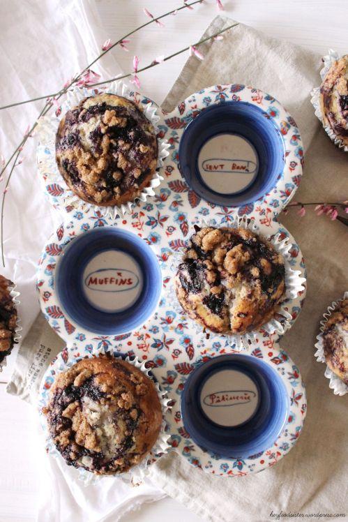Rezept für Blaubeer Muffins mit Streuseln Hey Foodsister