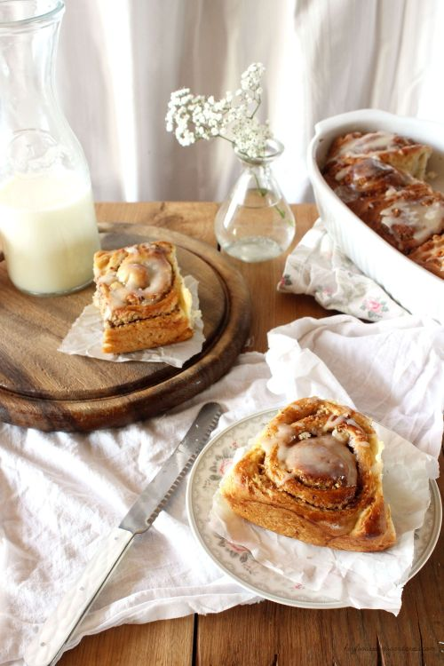 Rezept für Bananezimtschnecken mit Honigglasur Hey Foodsister
