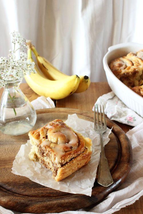 Rezept für Bananezimtschnecken mit Honigglasur