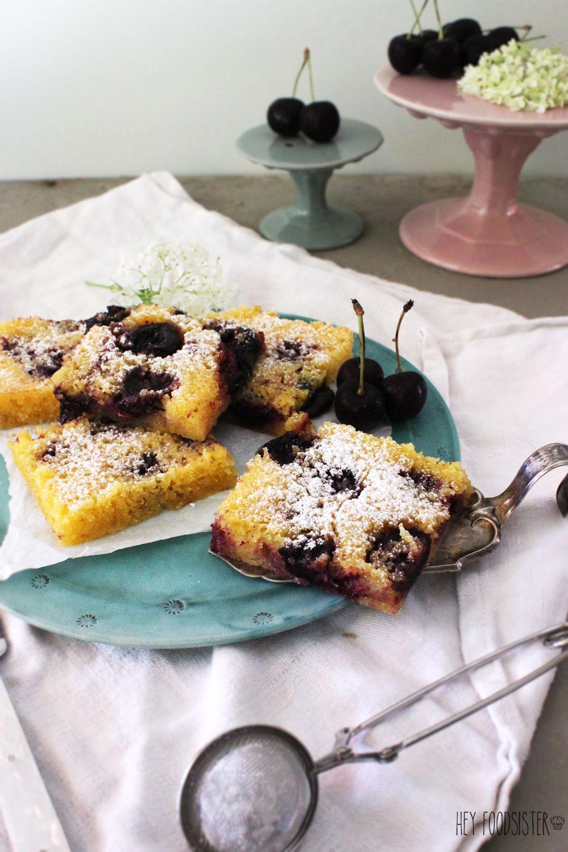 Polenta kuchen mit kirschen