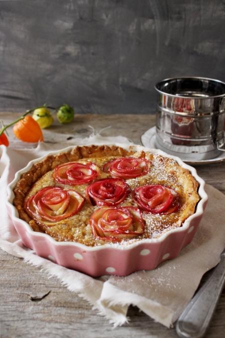 Rezept für eine Apfelrosentarte