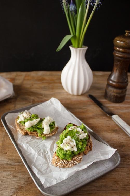Rezept für Sandwich mit Erbsen und Mozzarella